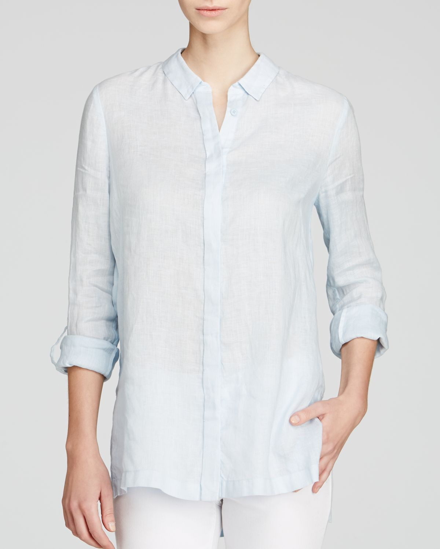 c49d17f42920 Elie Tahari Carly Linen Pleat Back Shirt in Blue - Lyst