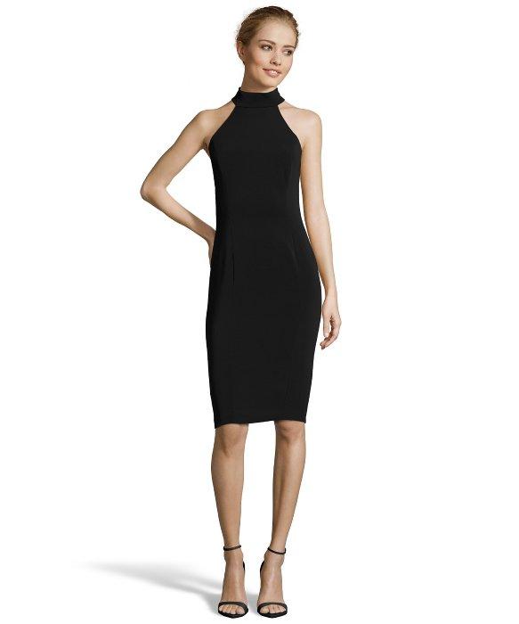 Mock neck black midi dress