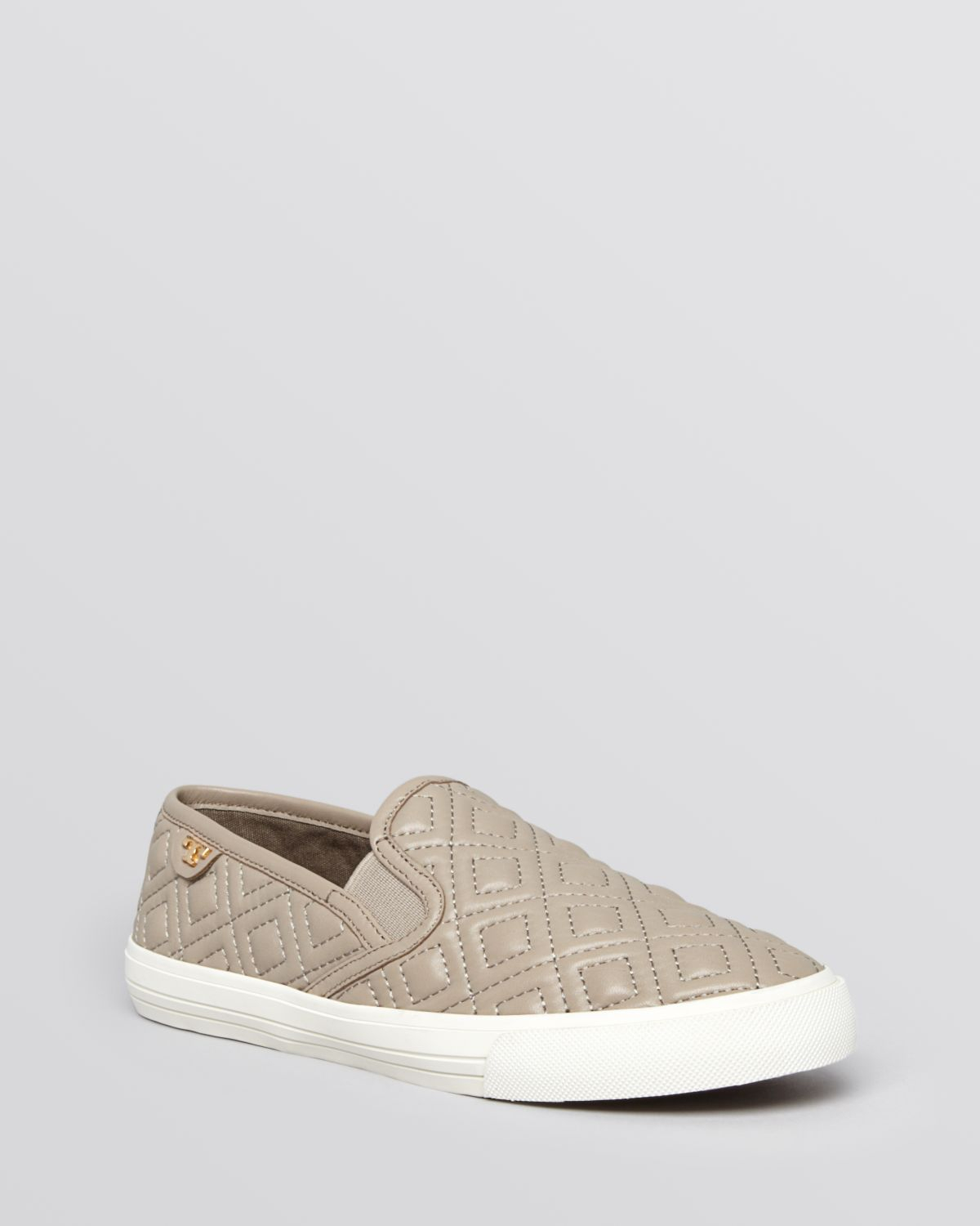 Tory Burch Flat Slip On Sneakers Jesse Quilted In Gray