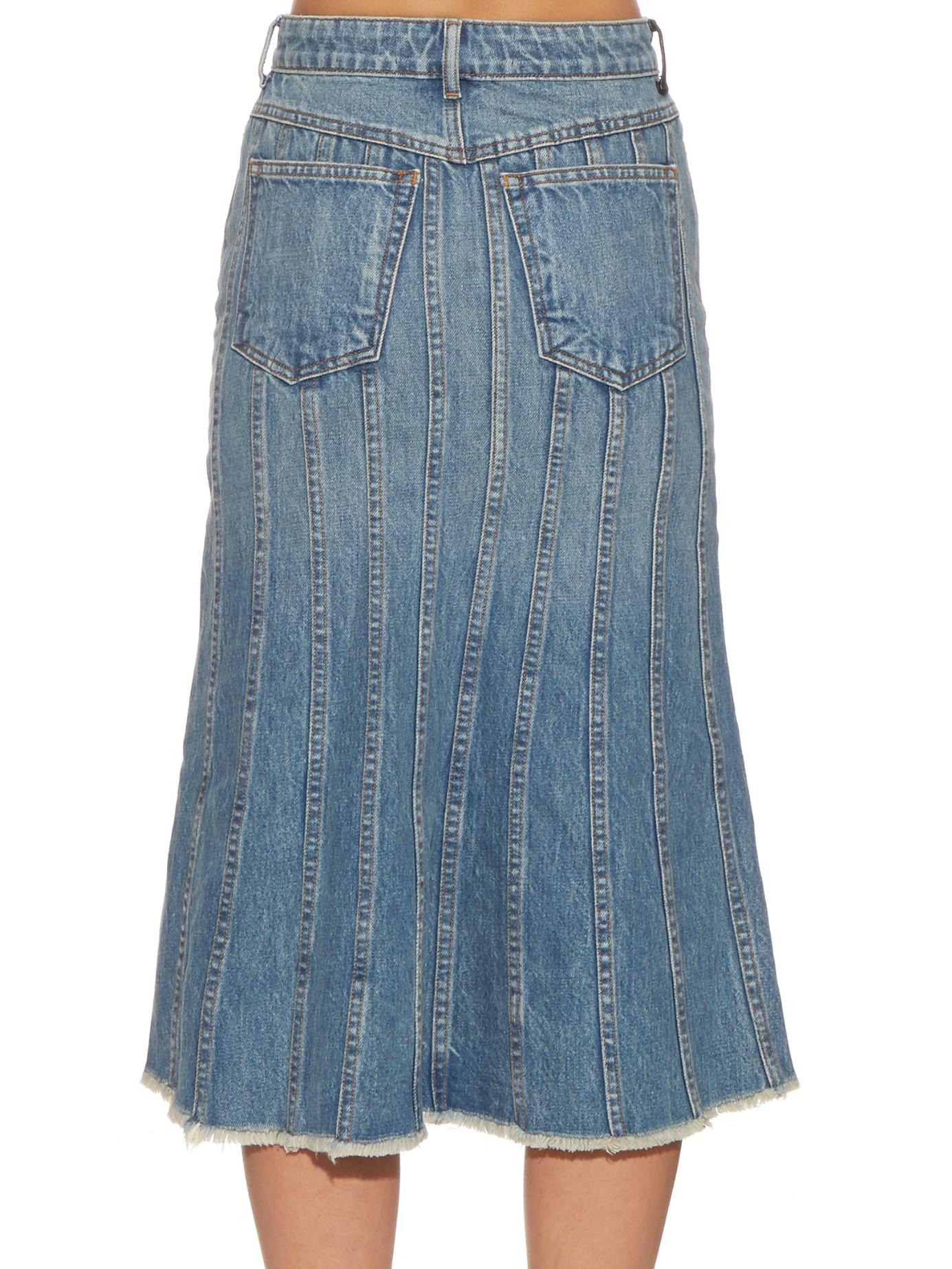 wang split front denim skirt in pink lyst