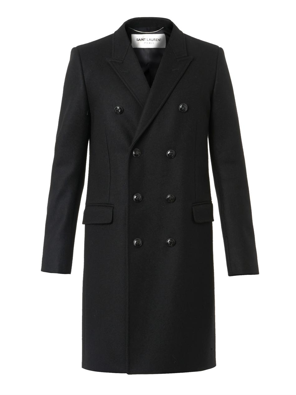 Saint laurent Classic Black Wool-blend Caban Coat in Black for Men ...