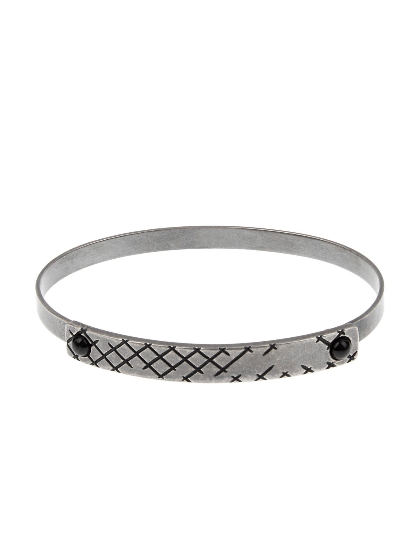 Bottega Veneta Intrecciato Leather And Oxidised Silver Bracelet - Black 8PuDQ