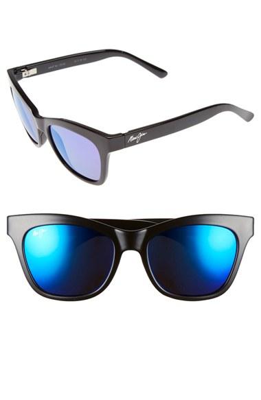 1216616142 Maui jim Sweet Leilani 53mm Polarizedplus2 Cat Eye Sunglasses - Gloss  Black  Blue Hawaii in