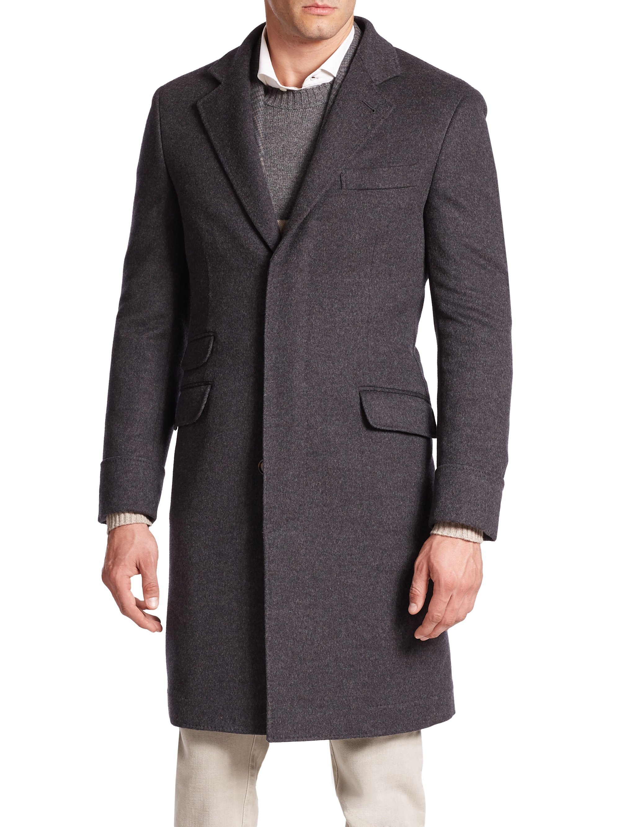 Mens gray overcoat