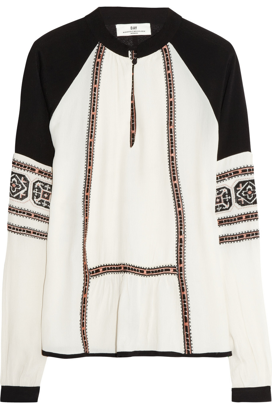 lyst day birger et mikkelsen folk embroidered crepe top in black. Black Bedroom Furniture Sets. Home Design Ideas