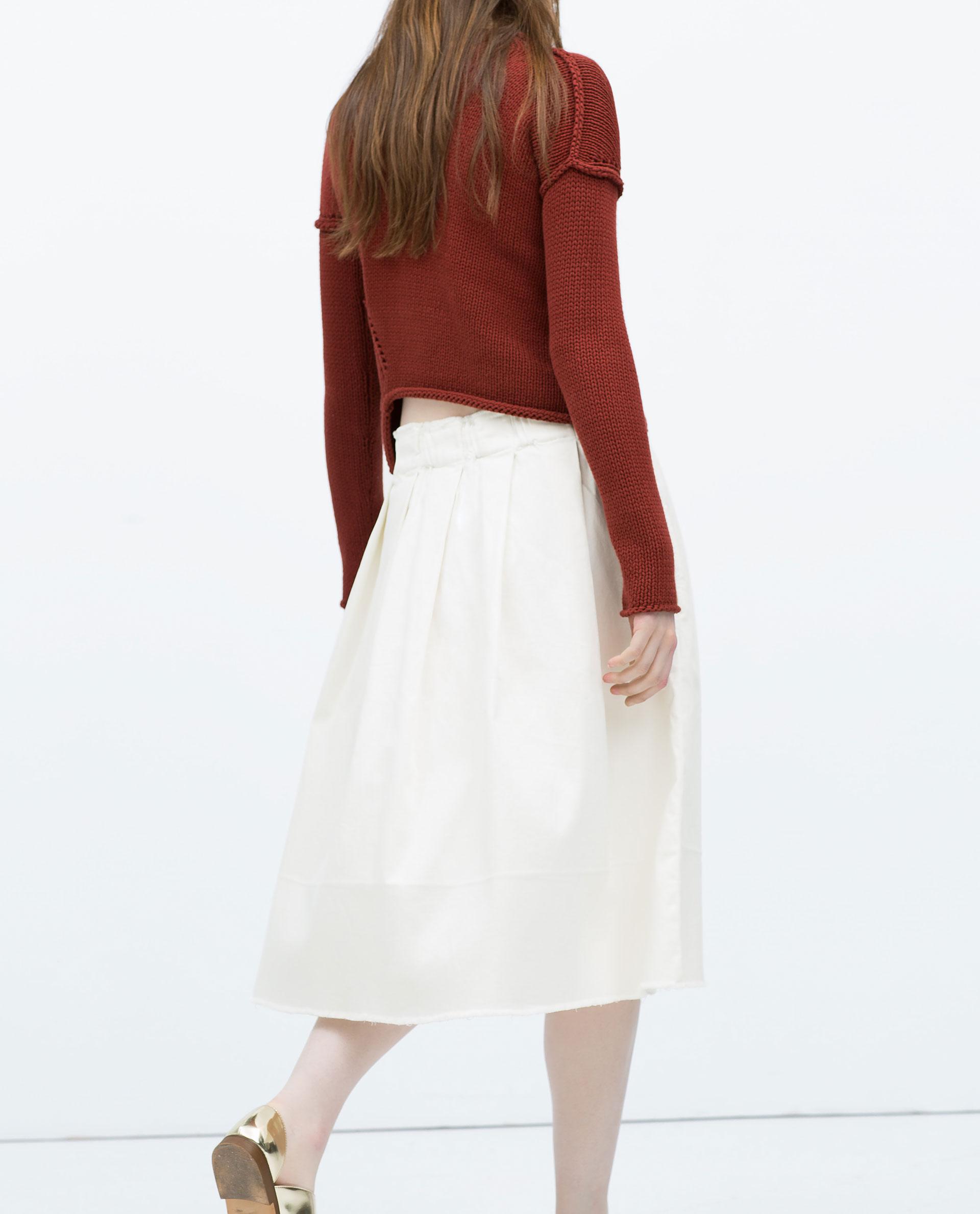 zara frayed midi skirt in white lyst