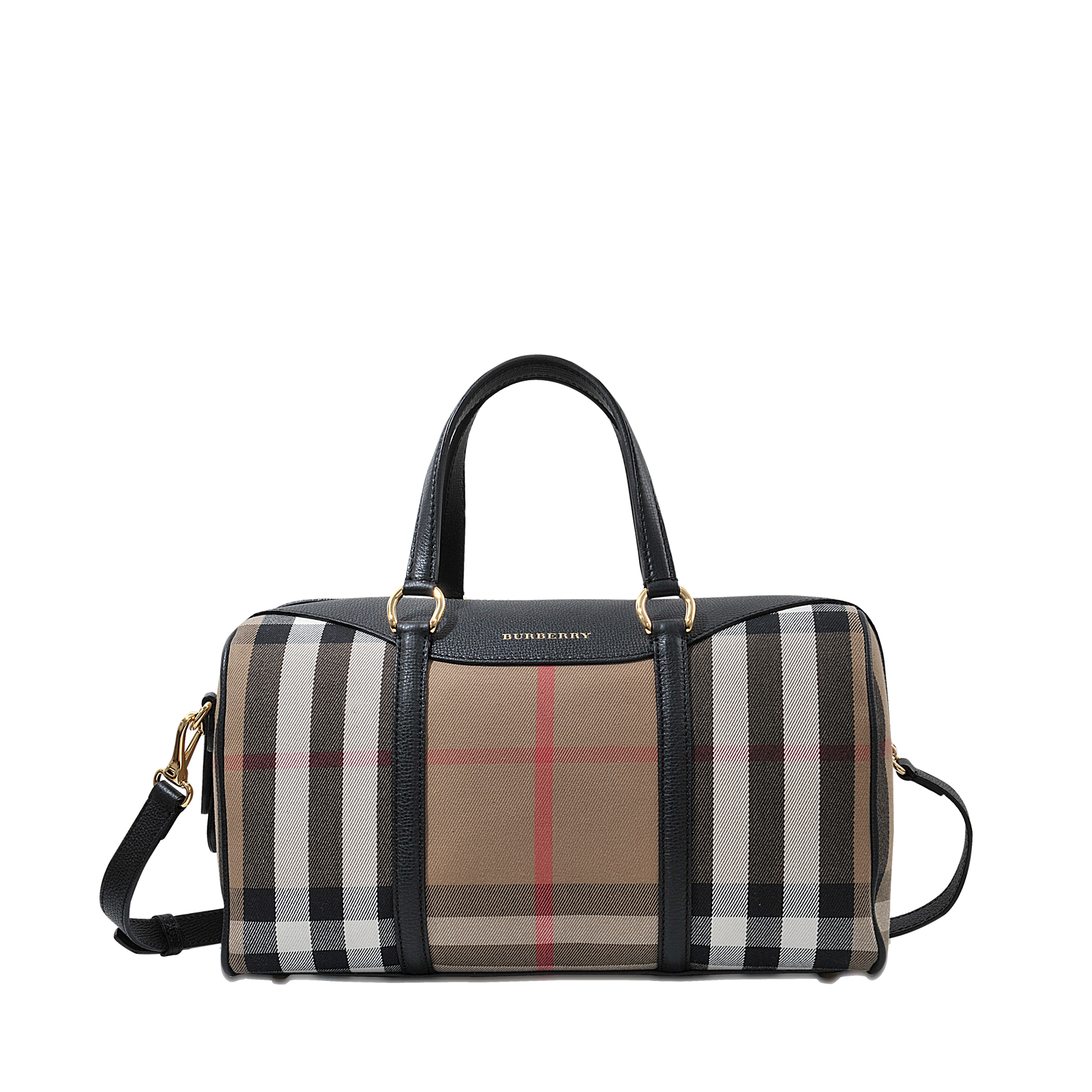 Lyst - Burberry Md Alchester House Check Bag in Black e50ef8f45585