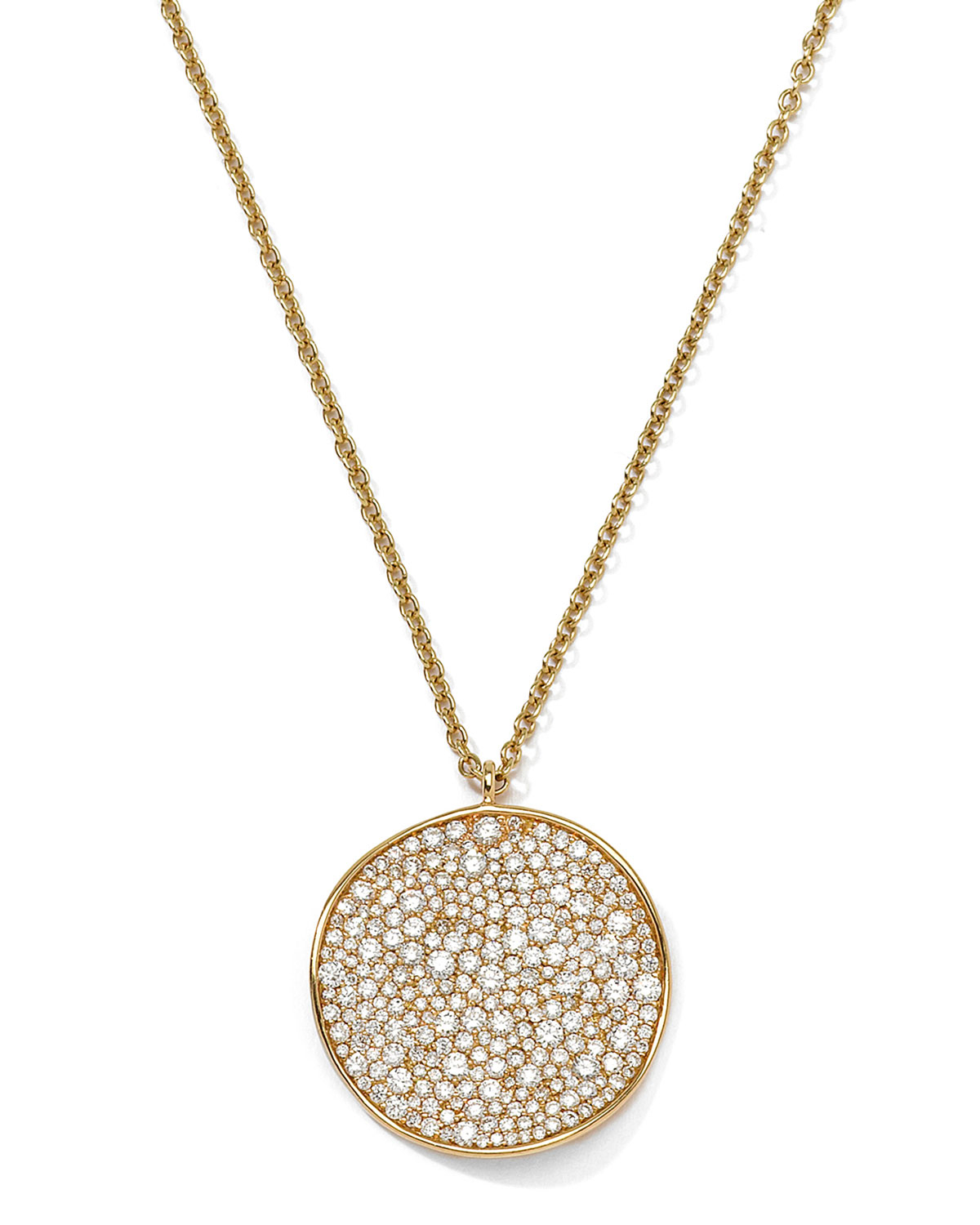 ippolita 18k gold stardust wavy disc pendant necklace with