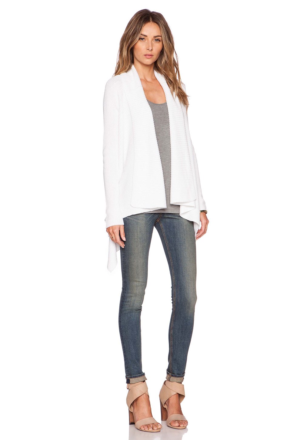 Lyst Vince Draped Front Cotton Cardigan In White