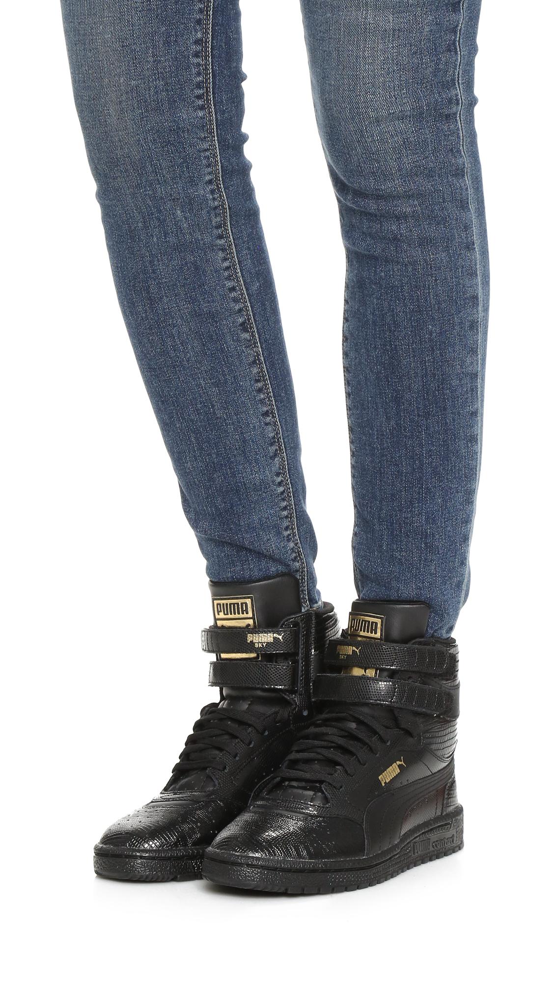 4223b7b22138c2 PUMA Sky Ii High Top Sneakers in Black - Lyst