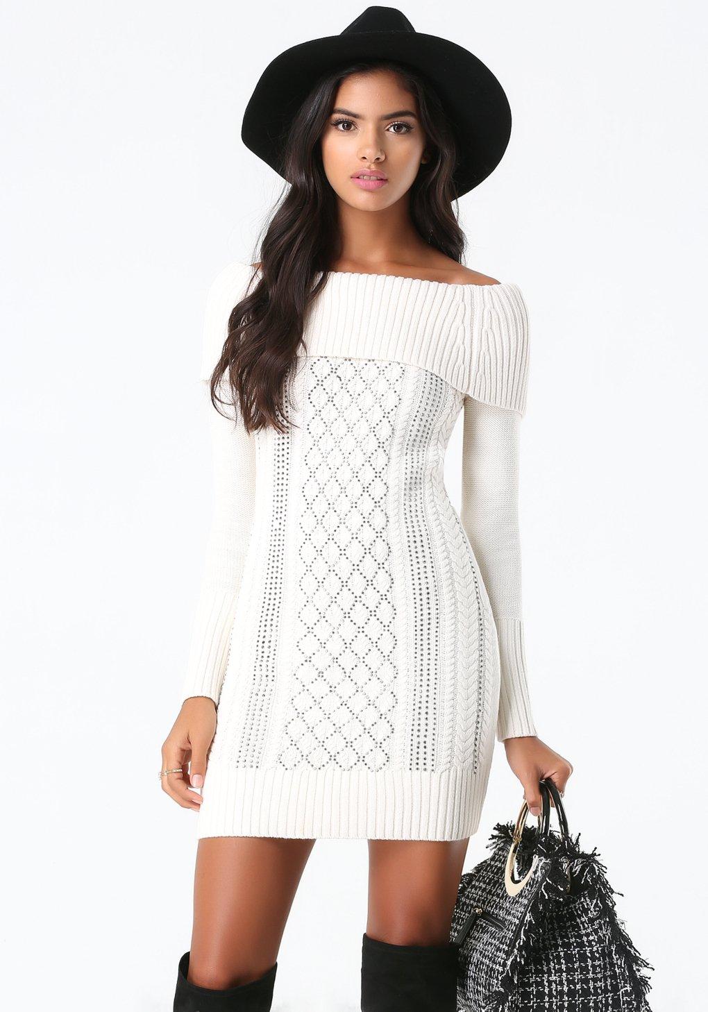 Bebe Off Shoulder Sweater Dress in White | Lyst