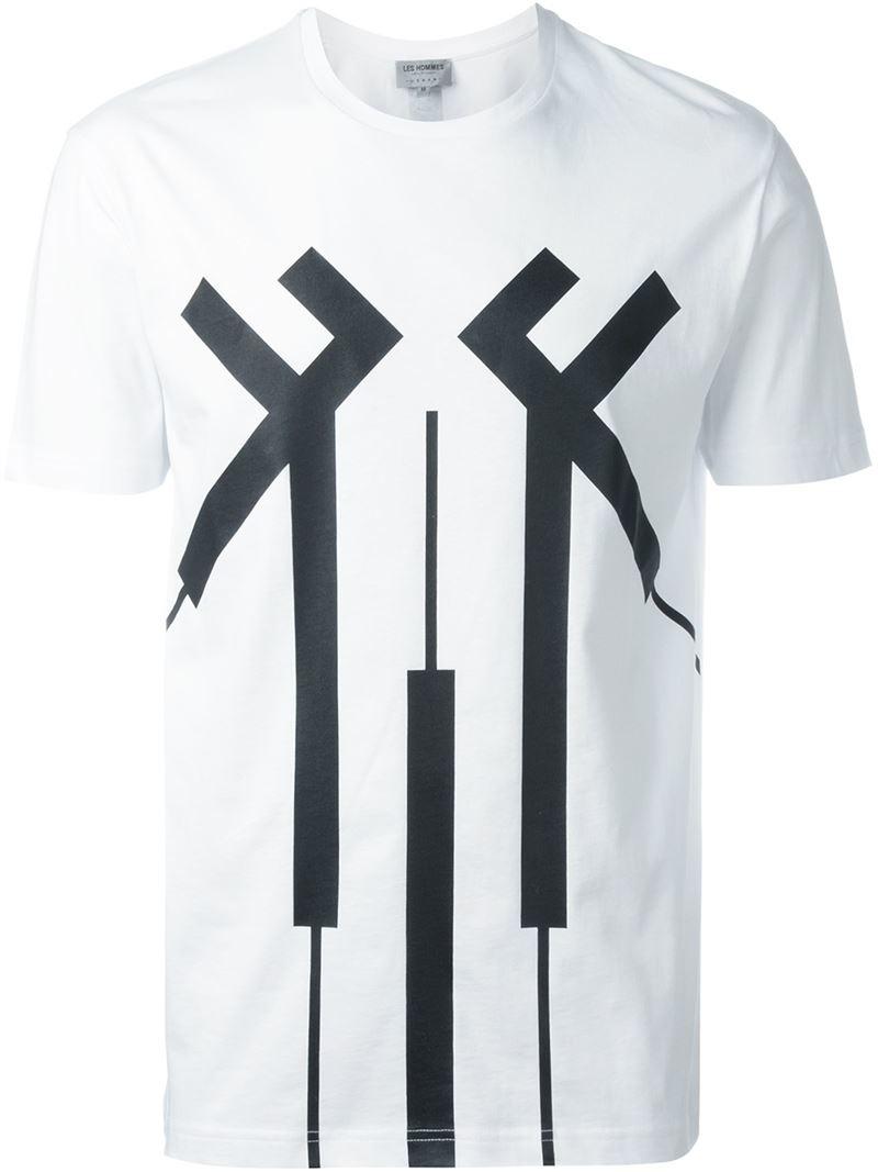 Estampada Camiseta Contraste Blanco Hommes Les 7waXwq