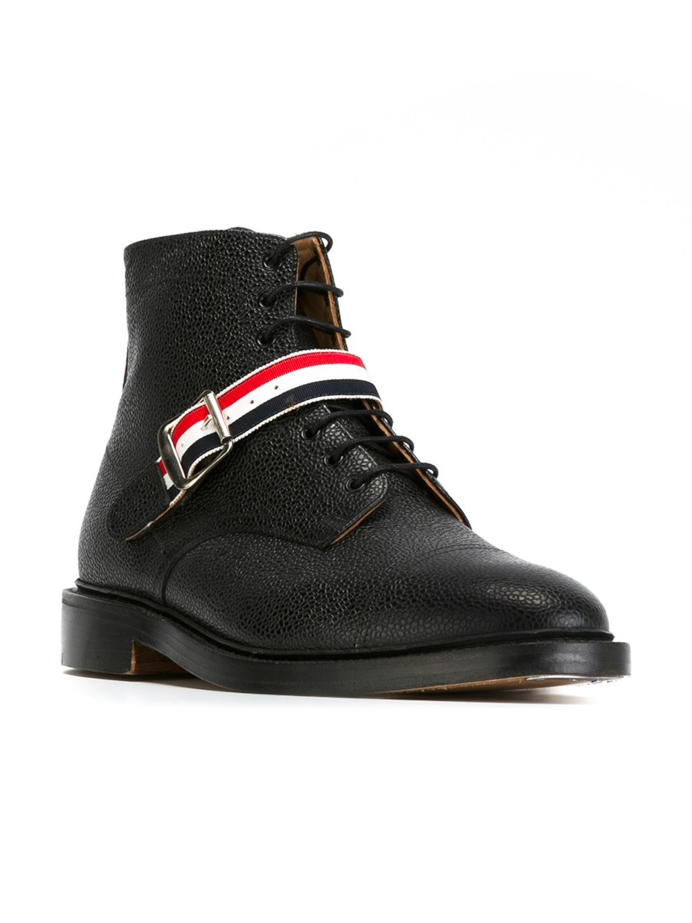 thom browne buckled lace up boots in black for