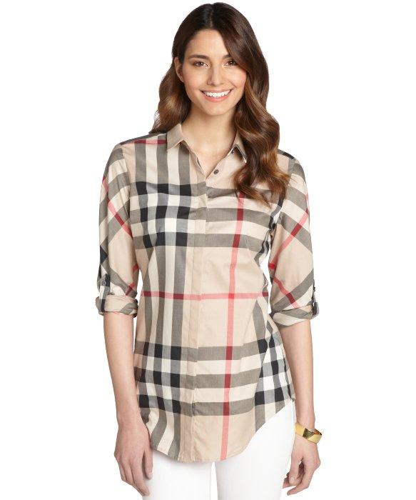 Lyst burberry brit tan nova check stretch cotton for Ladies brown check shirt