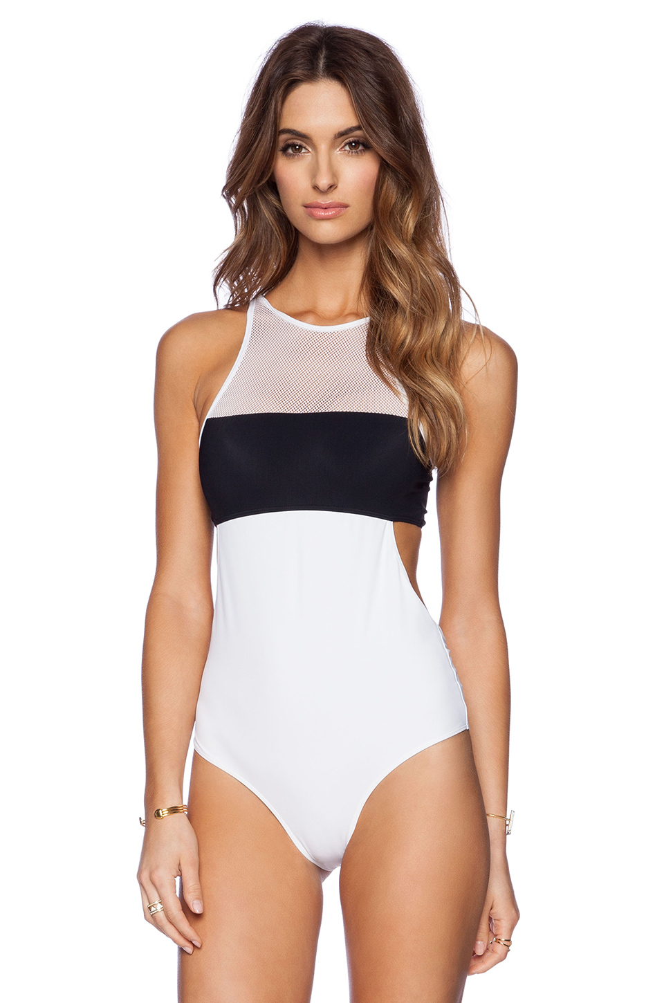 t by alexander wang 55_t by alexander wang mesh combo one piece swimsuit swimwear swim Mesh and swim tricot combo one piece swimsuit. Attached bandeau coverage at .
