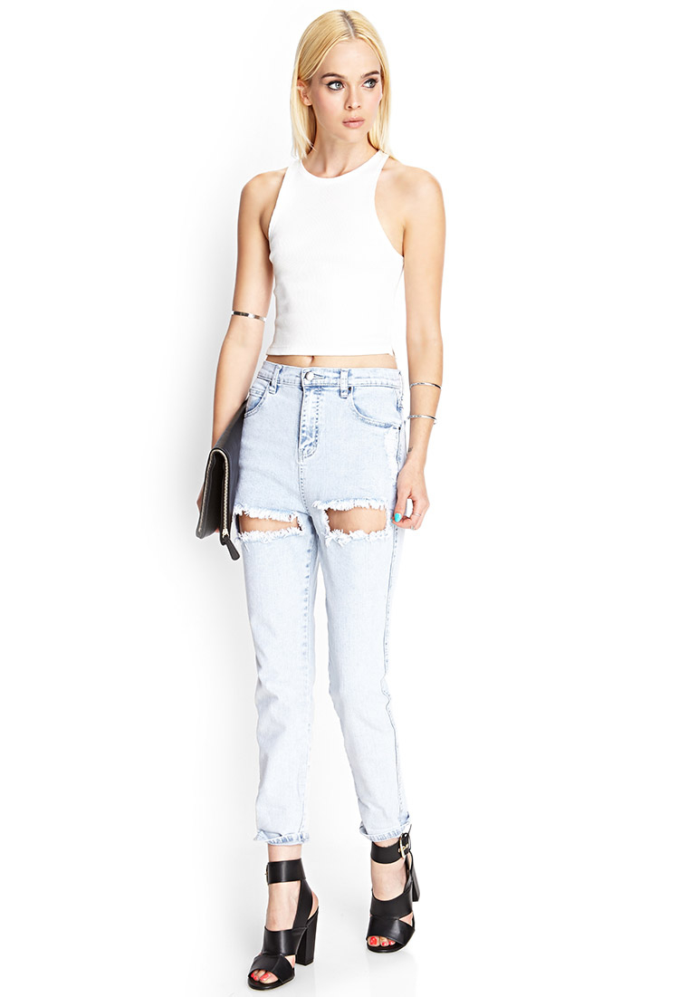 Gallery - Forever 21 Light Wash Ripped Jeans In Blue Lyst