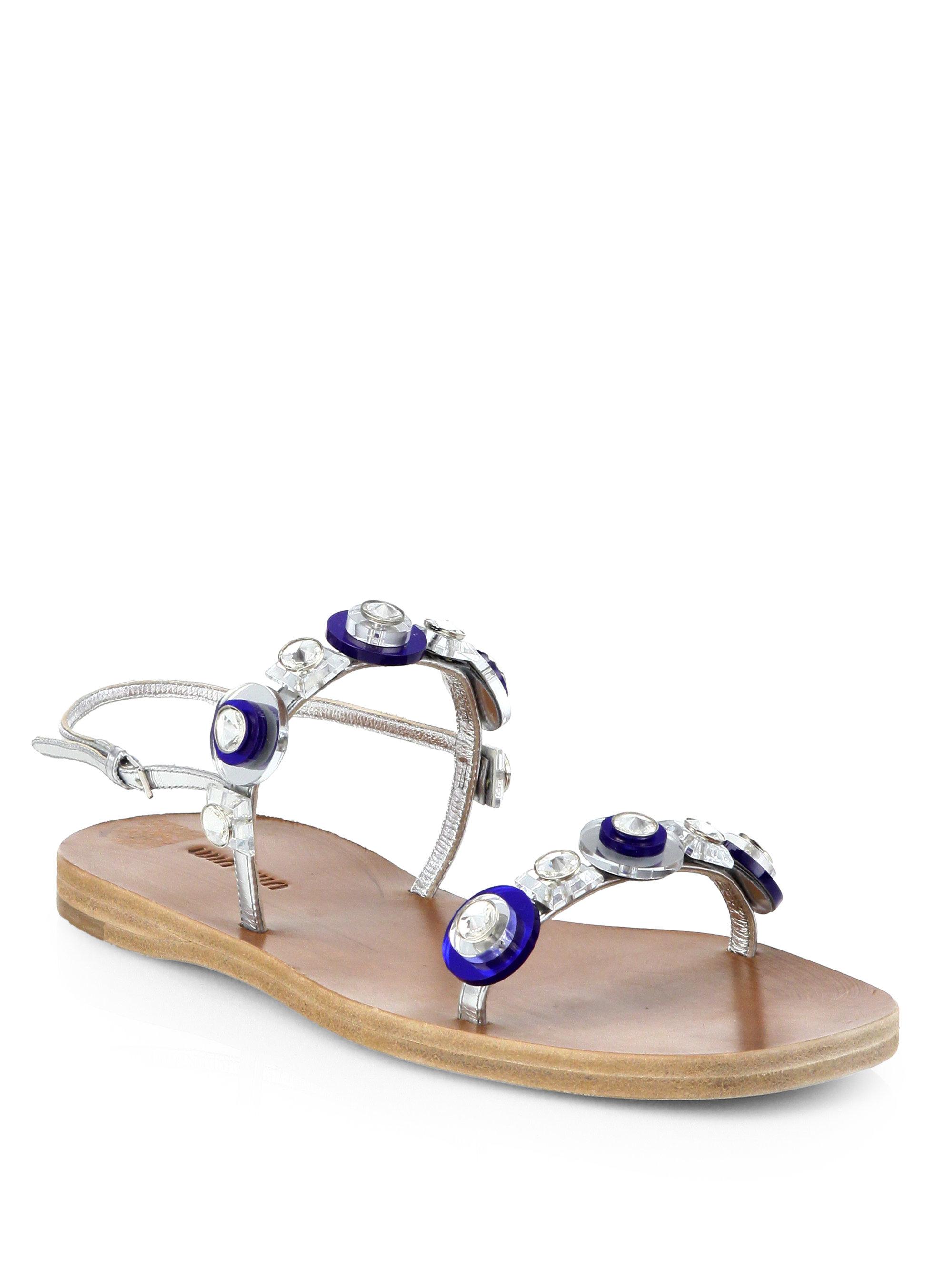Sandals Jeweled Lk3jctuf1 Flat Miu Slingback In Metallic Lyst txQBsCodhr