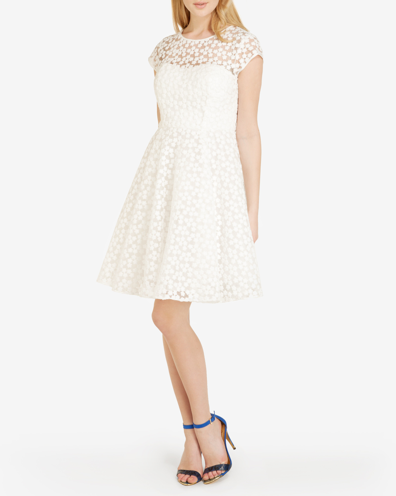 Ted baker embroidered floral dress in white lyst