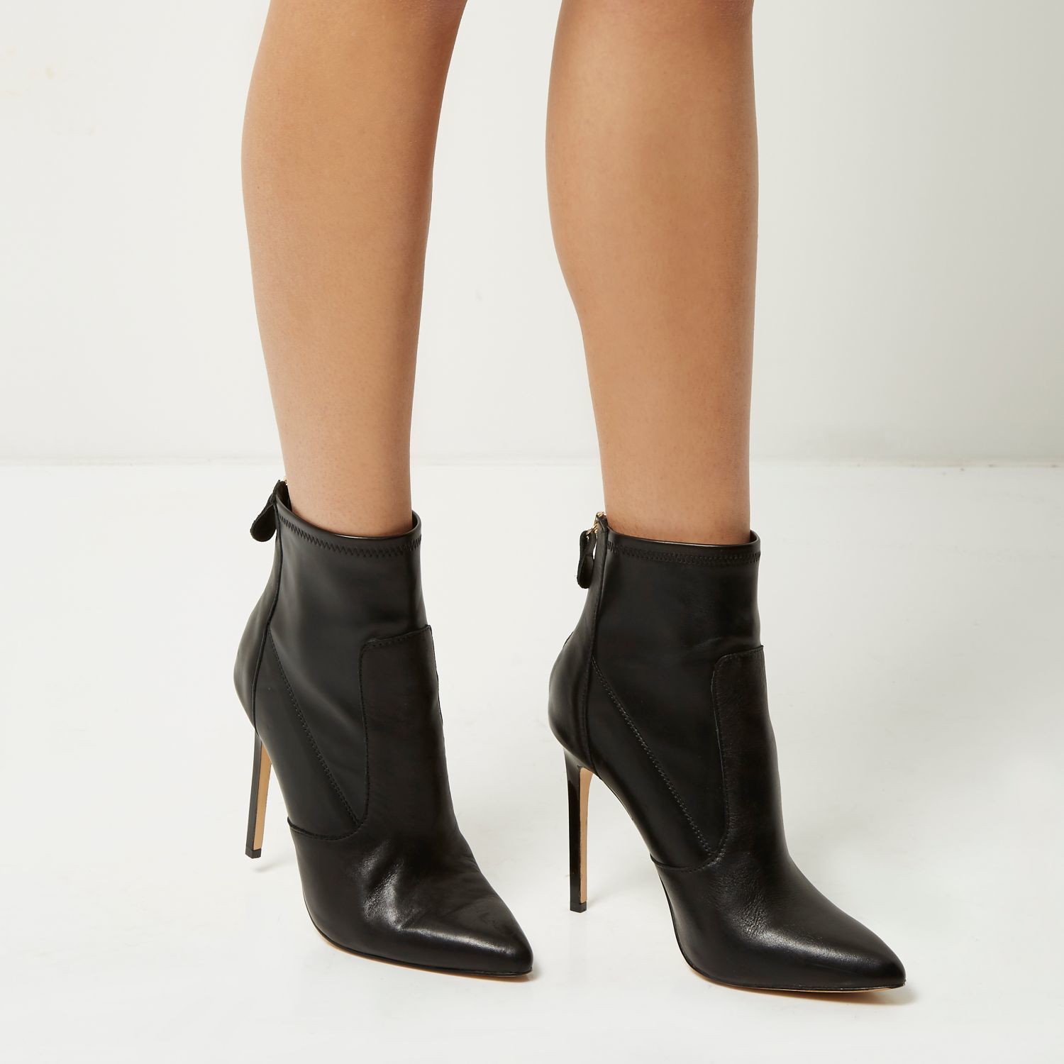 669297c0ee23 River island Black Leather Stretch Heeled Ankle Boots in Black