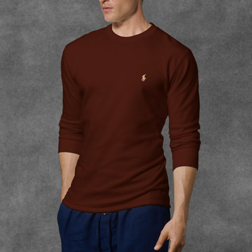 3acf7d79 Polo Ralph Lauren Waffle-knit Crewneck Thermal in Brown for Men - Lyst