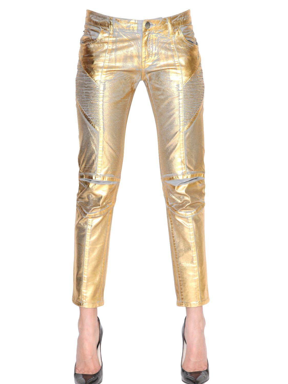balmain stretch coated cotton denim jeans in metallic lyst. Black Bedroom Furniture Sets. Home Design Ideas