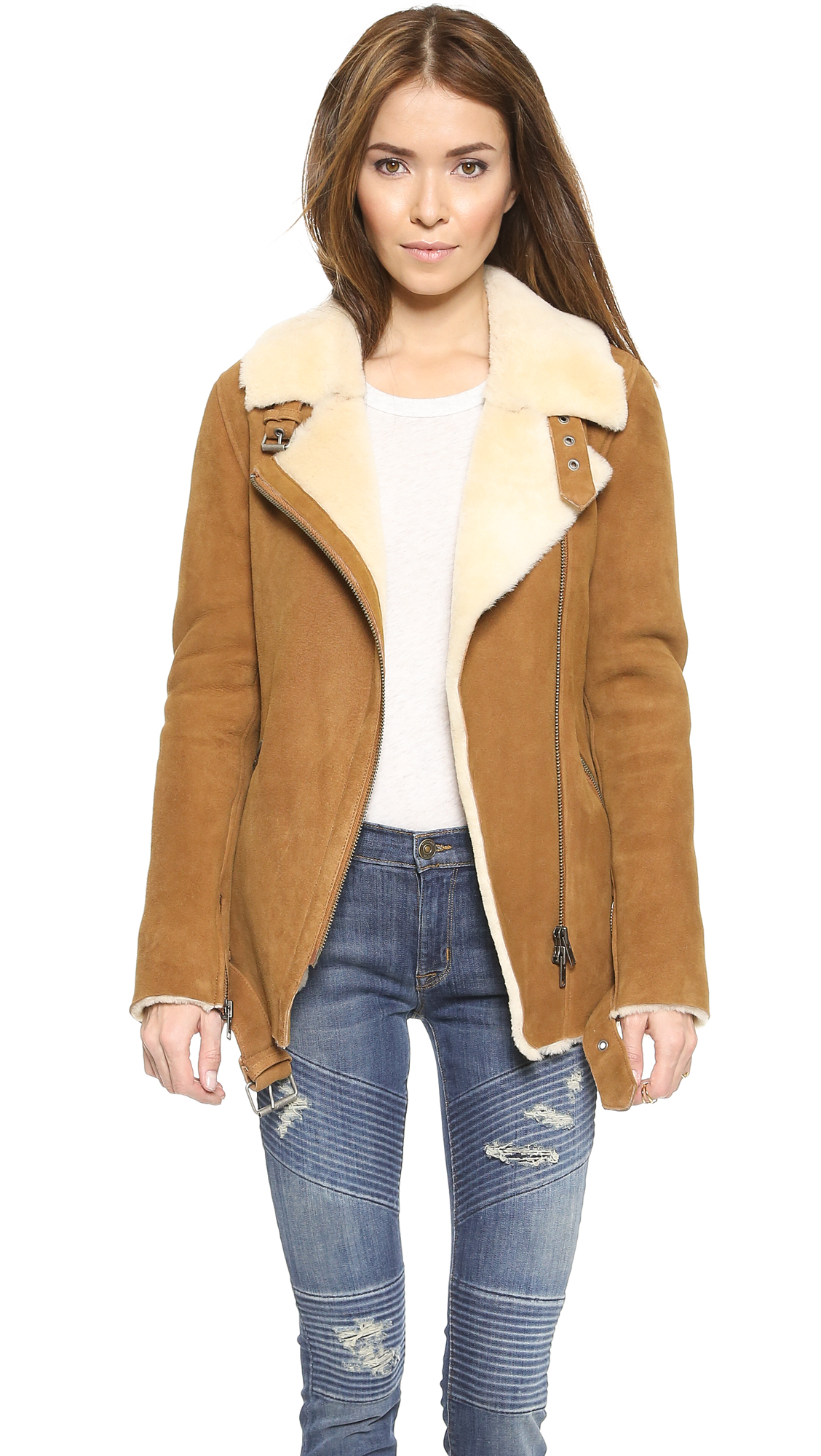 Just female Chin Shearling Suede Jacket - Camel in Natural | Lyst