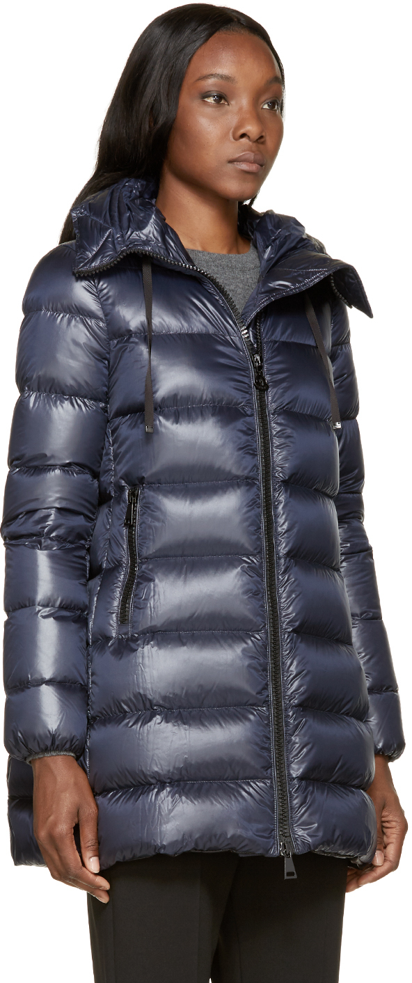 lyst moncler suyen padded coat in black; lyst moncler navy lightweight down suyen coat in blue
