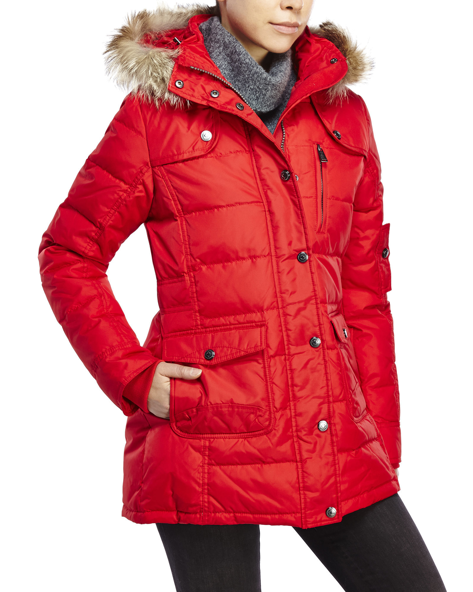 Pajar Serena Real Fur Trim Down Coat in Red | Lyst