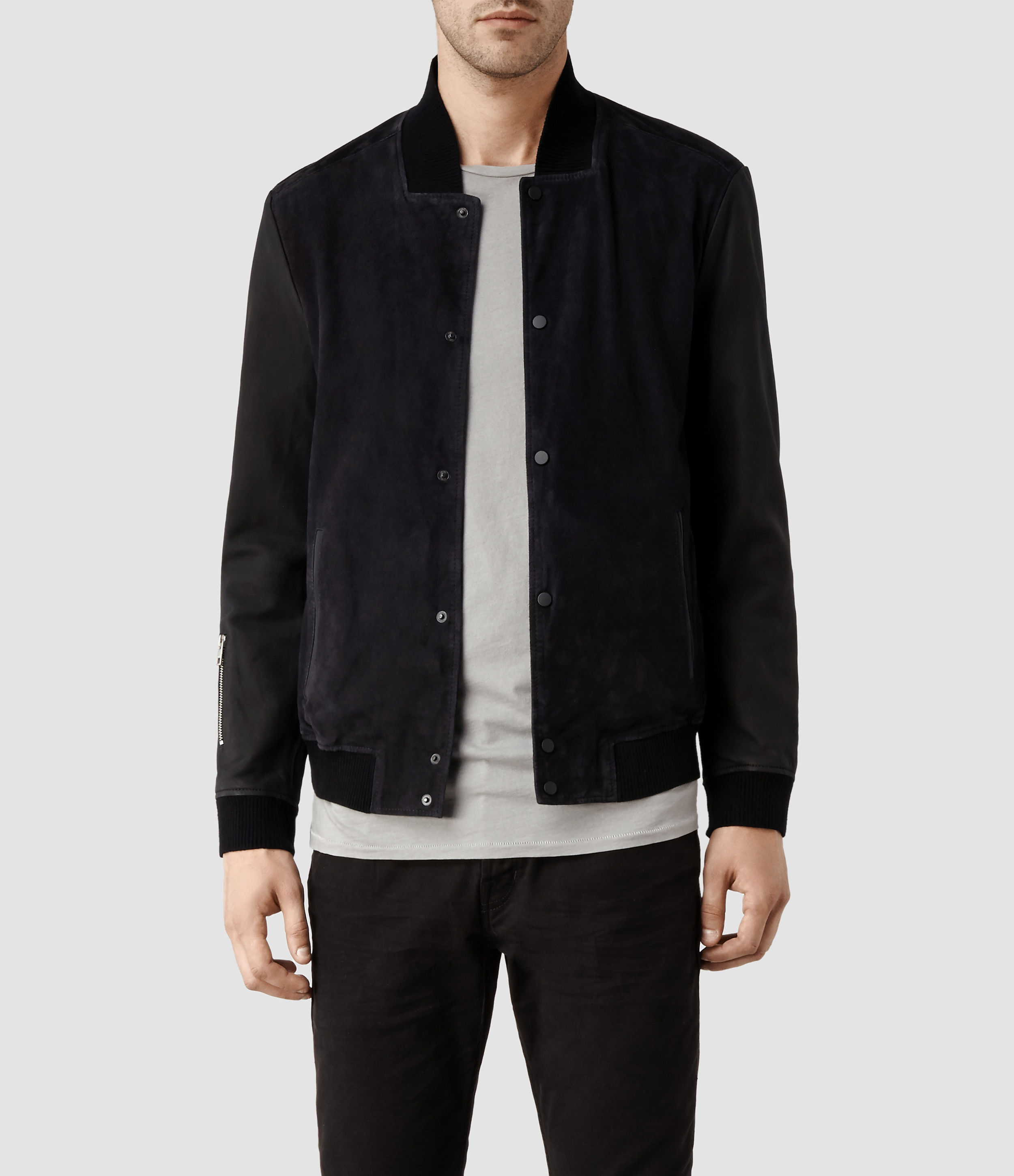 Allsaints Delta Leather Bomber Jacket in Black for Men | Lyst