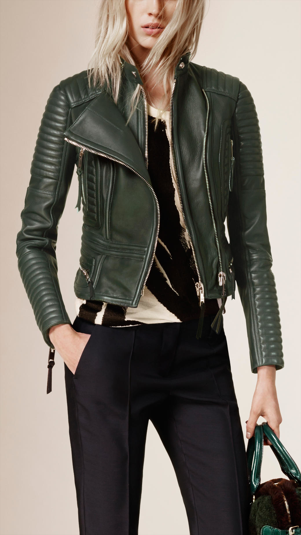 Burberry Peplum Waist Quilted Leather Biker Jacket In