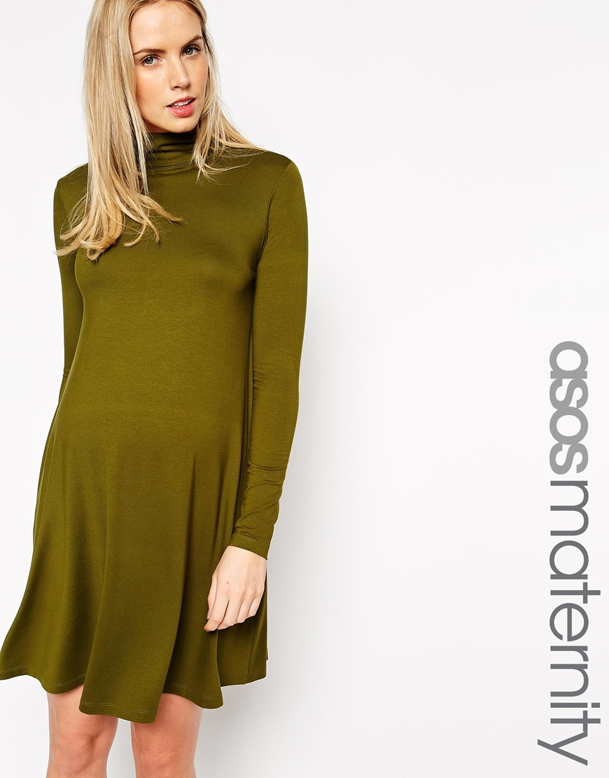 Lyst Asos Swing Dress With High Neck And Long Sleeves In Green