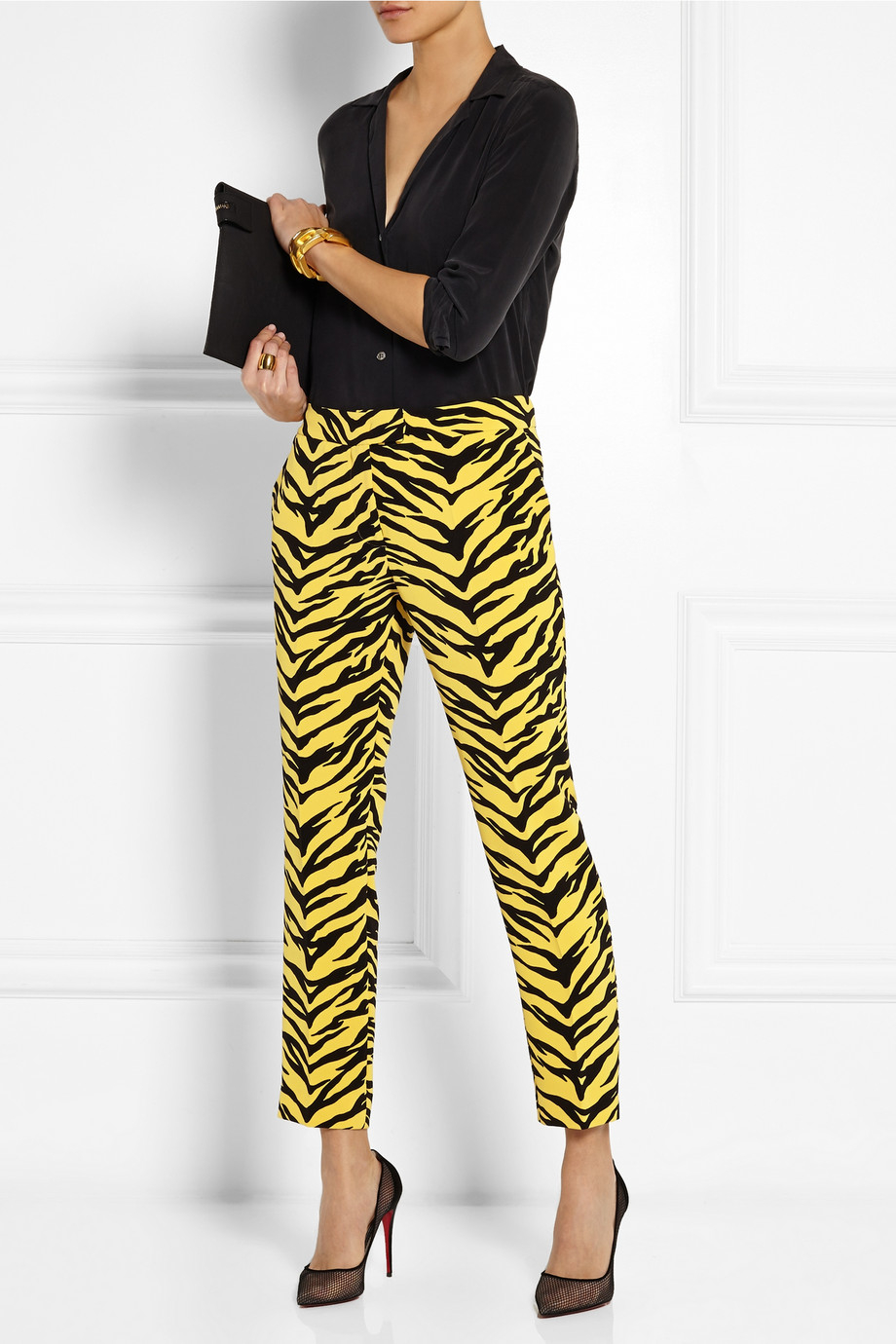 21bf03afaffb Boutique Moschino Animal-Print Crepe Straight-Leg Pants in Yellow - Lyst