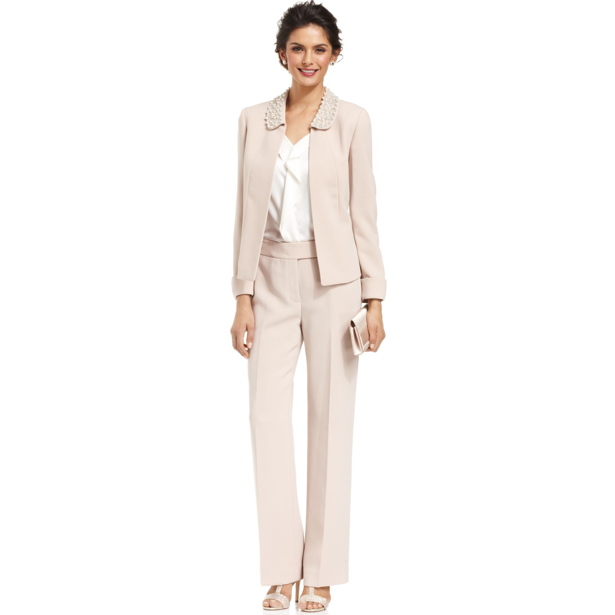 tahari embellished collar pant suit in natural lyst gallery