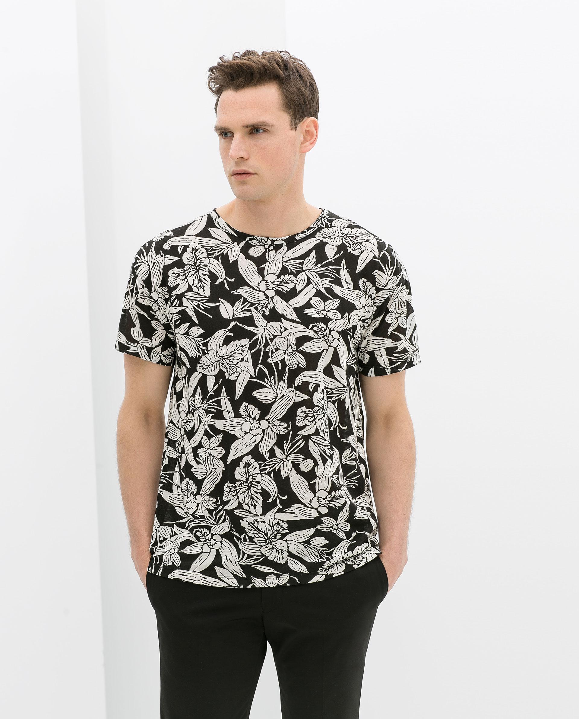 Zara flower print tshirt in black for men lyst for Zara mens floral shirt