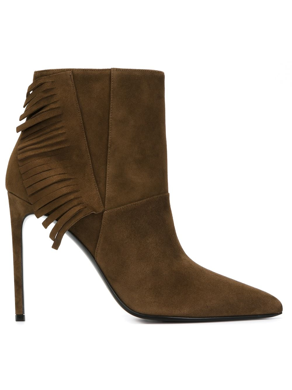 laurent fringed ankle boots in brown save 40 lyst