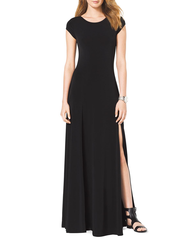 Lyst Michael Michael Kors Capsleeve Slit Maxi Dress In Black