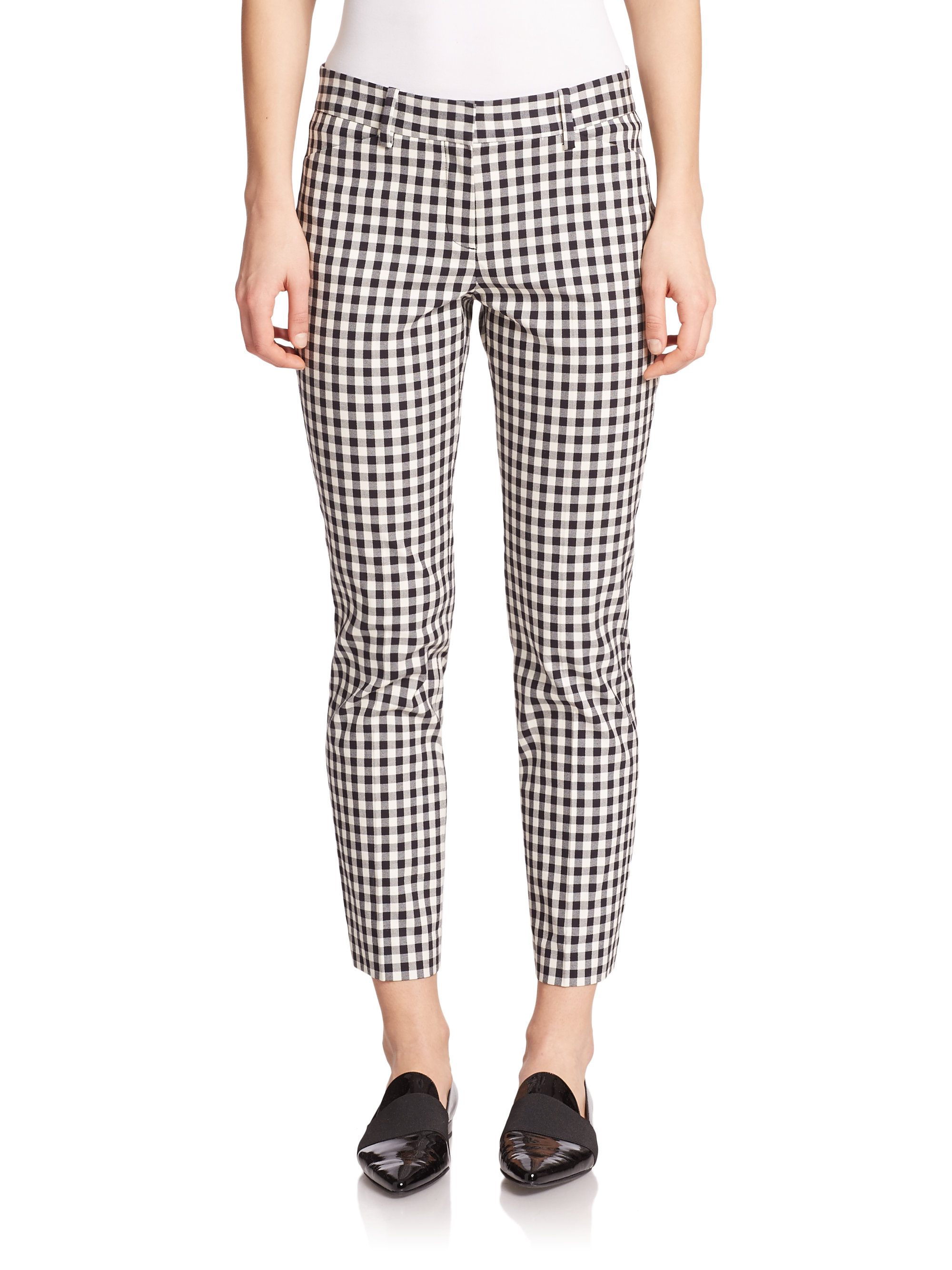 Lyst Theory Izelle Barne Gingham Check Pants In Black