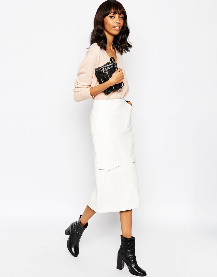 Asos Leather Look Pencil Skirt With Utility Pockets - White in ...