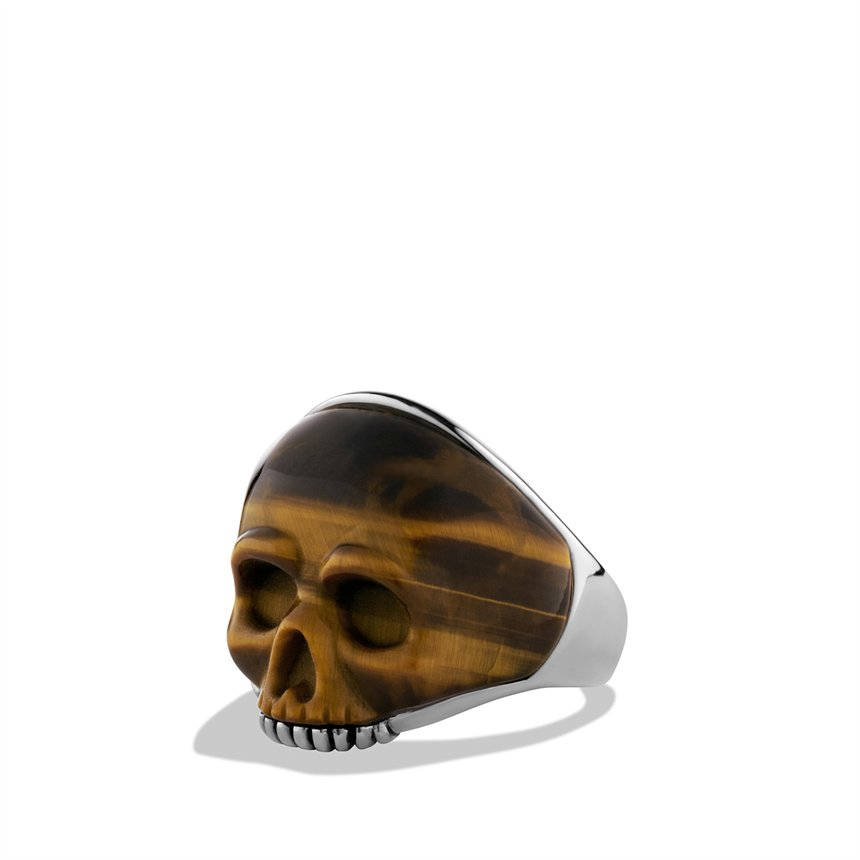 David Yurman Waves Carved Skull Ring With Tigers Eye In