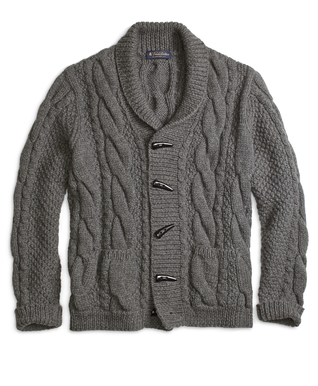 Brooks brothers Handknit Shawl Collar Cable Cardigan in Gray for ...