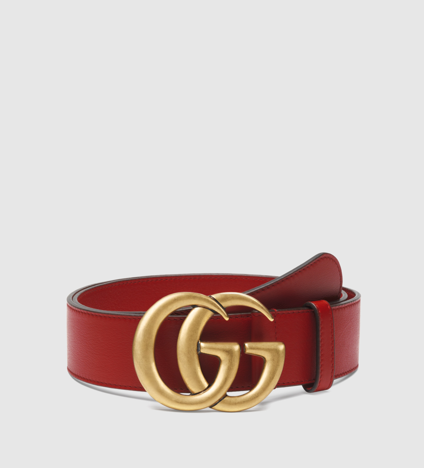 5b315bacf173 Lyst - Gucci Leather Belt With Double G Buckle in Red