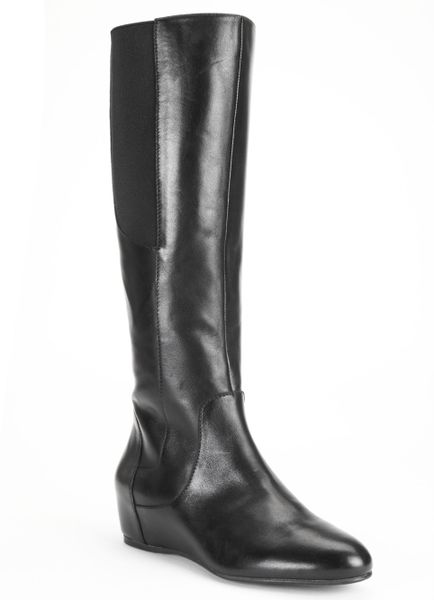 enzo angiolini deanja wide calf wedge boots in black