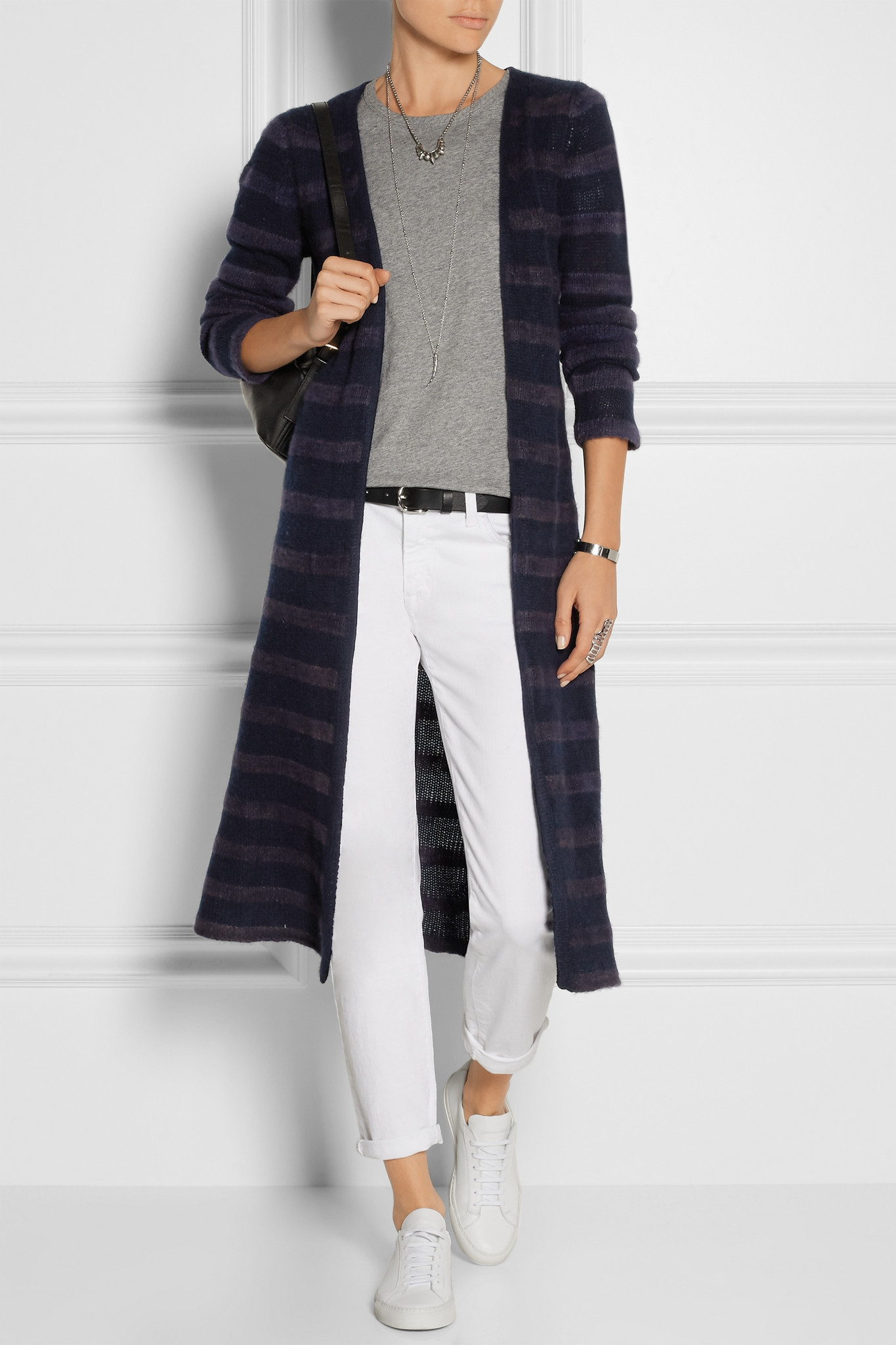 The elder statesman Mr Simple Striped Cashmere Cardigan in Blue | Lyst