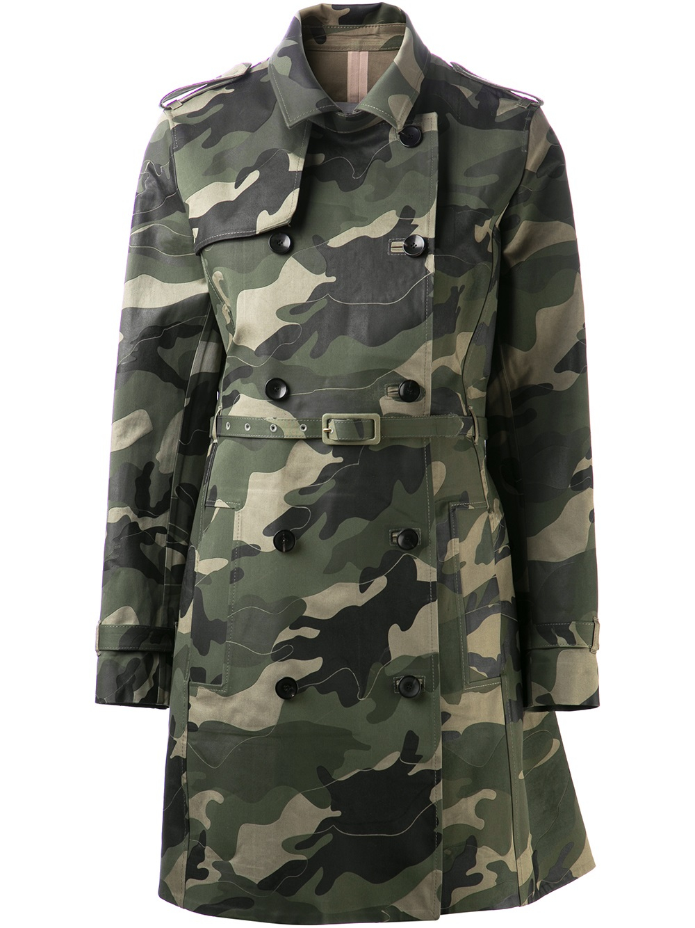 Lyst Valentino Camouflage Trench Coat In Green