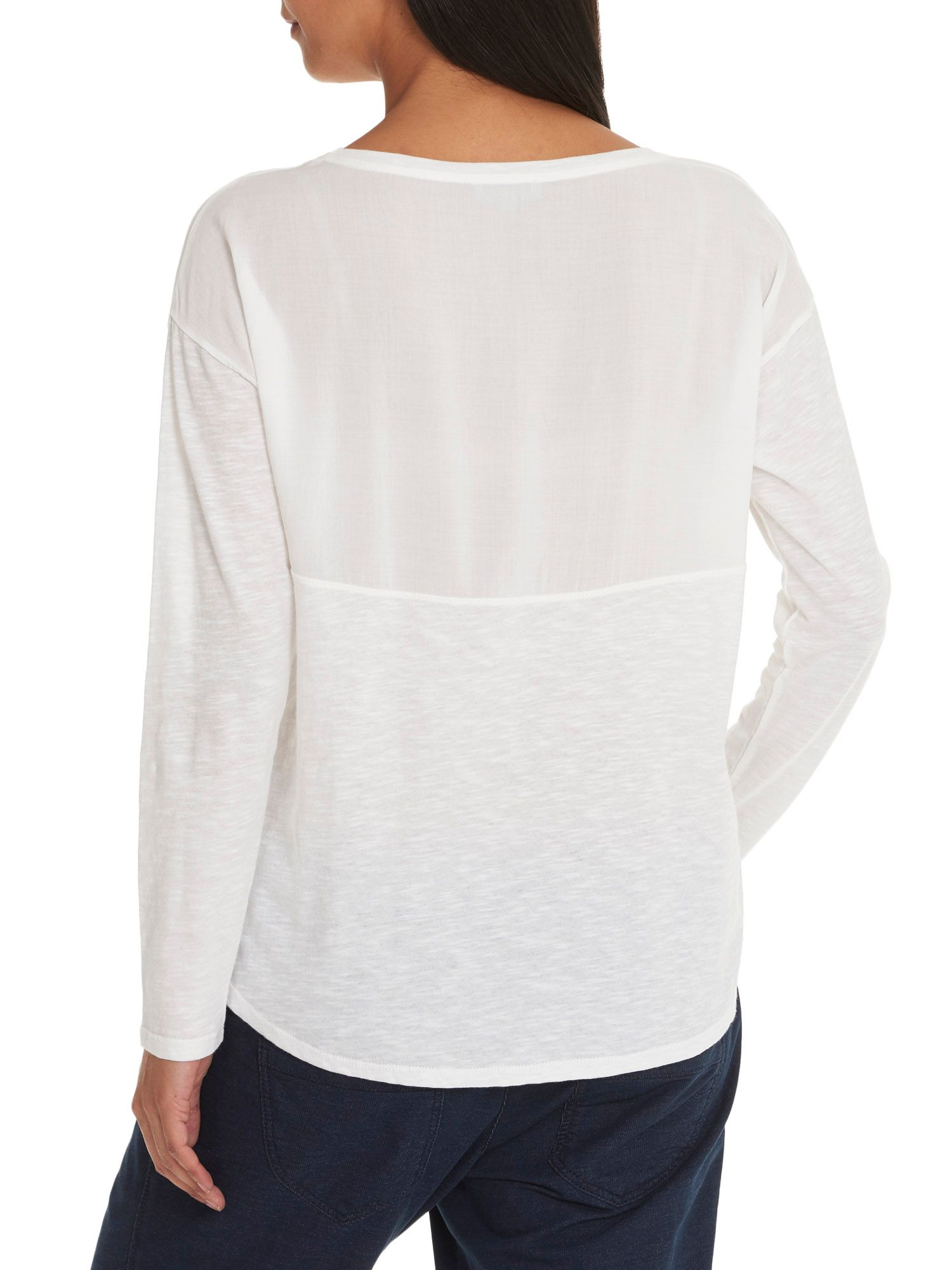 Betty co long sleeved cotton t shirt in white lyst for White cotton long sleeve t shirt