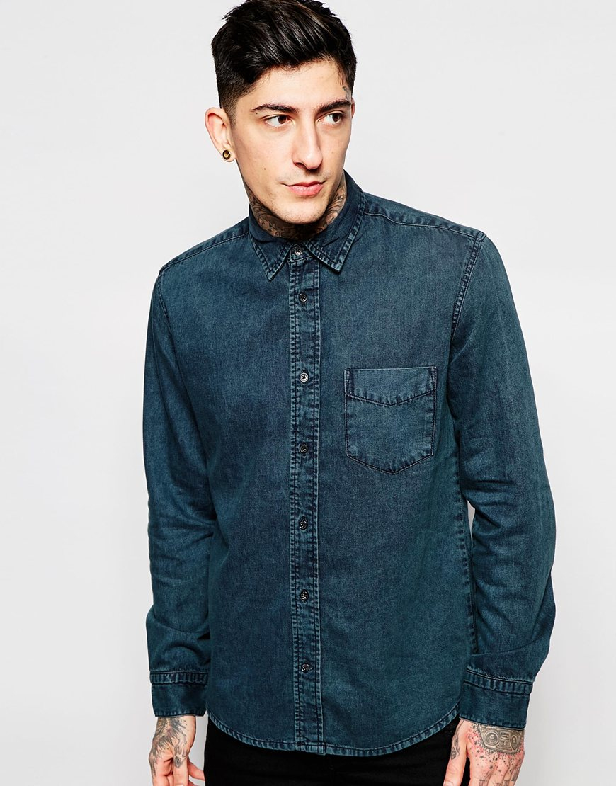 576aaf75cd Lyst - Cheap Monday Regular Air Dense Denim Shirt in Blue for Men