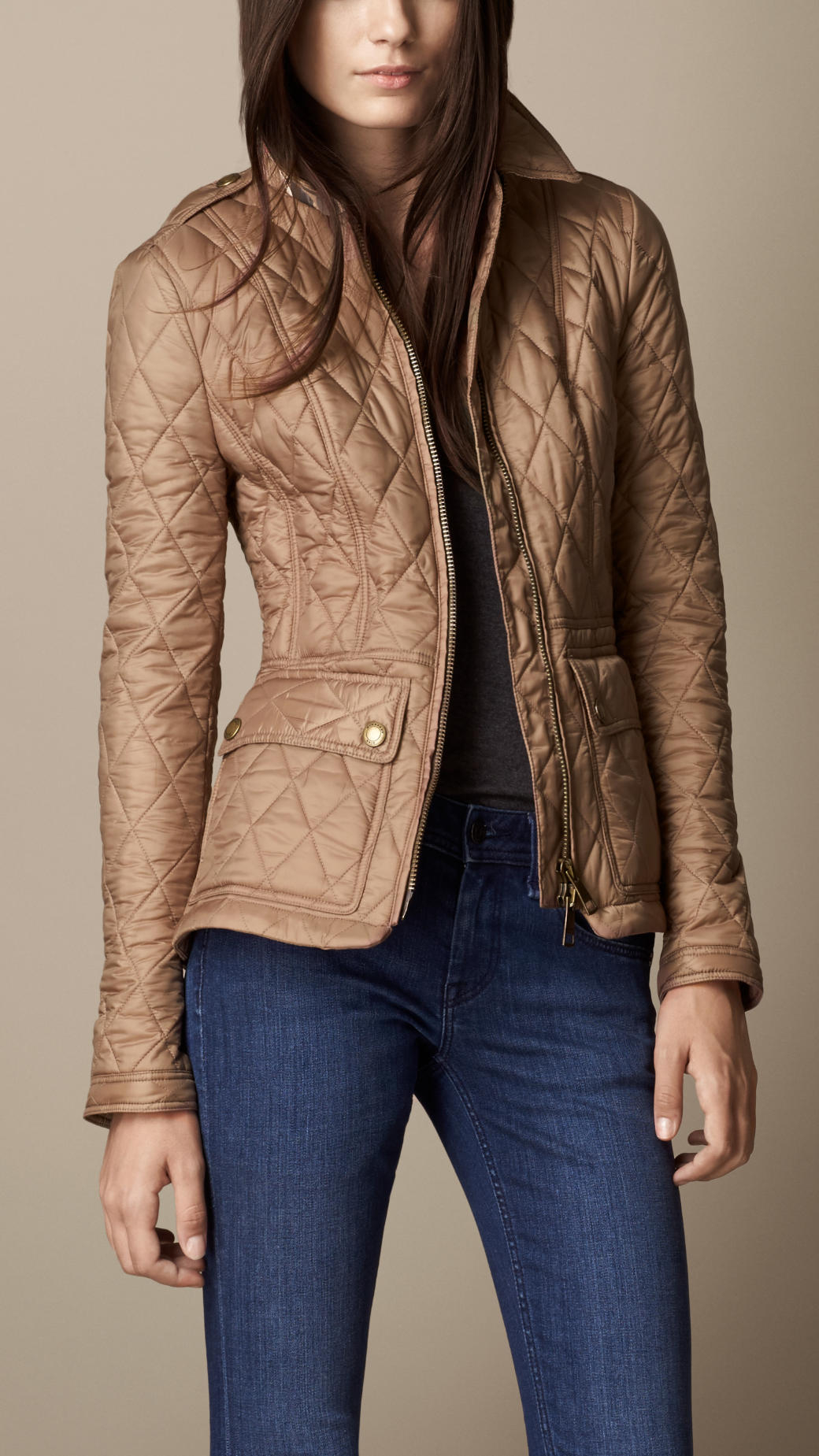 Lyst Burberry Fitted Diamond Quilt Jacket In Brown