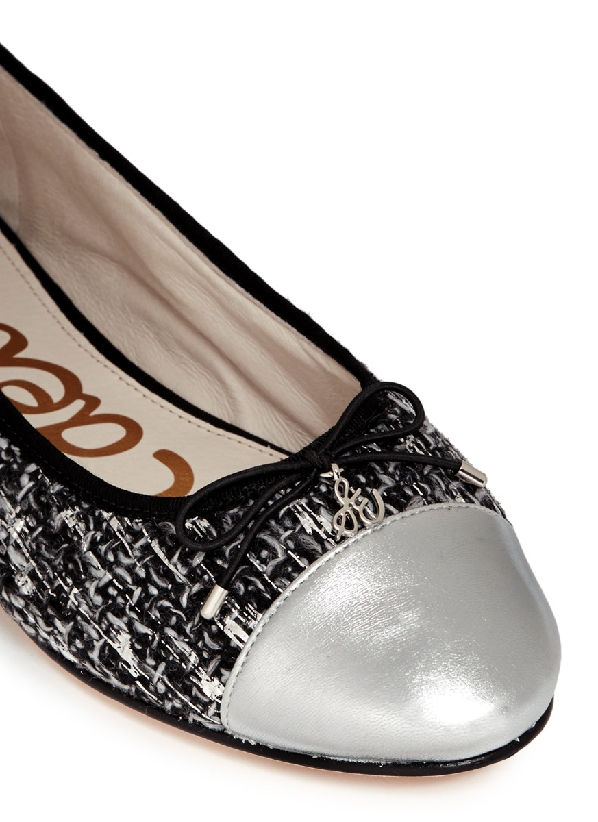 63df72d29d2928 Lyst - Sam Edelman  sara  Metallic Toe Cap Bouclé Tweed Flats in Black