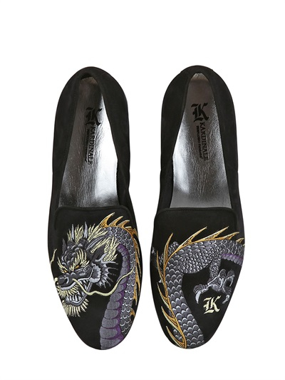 Kardinale Dragon Embroidered Suede Loafers In Black For