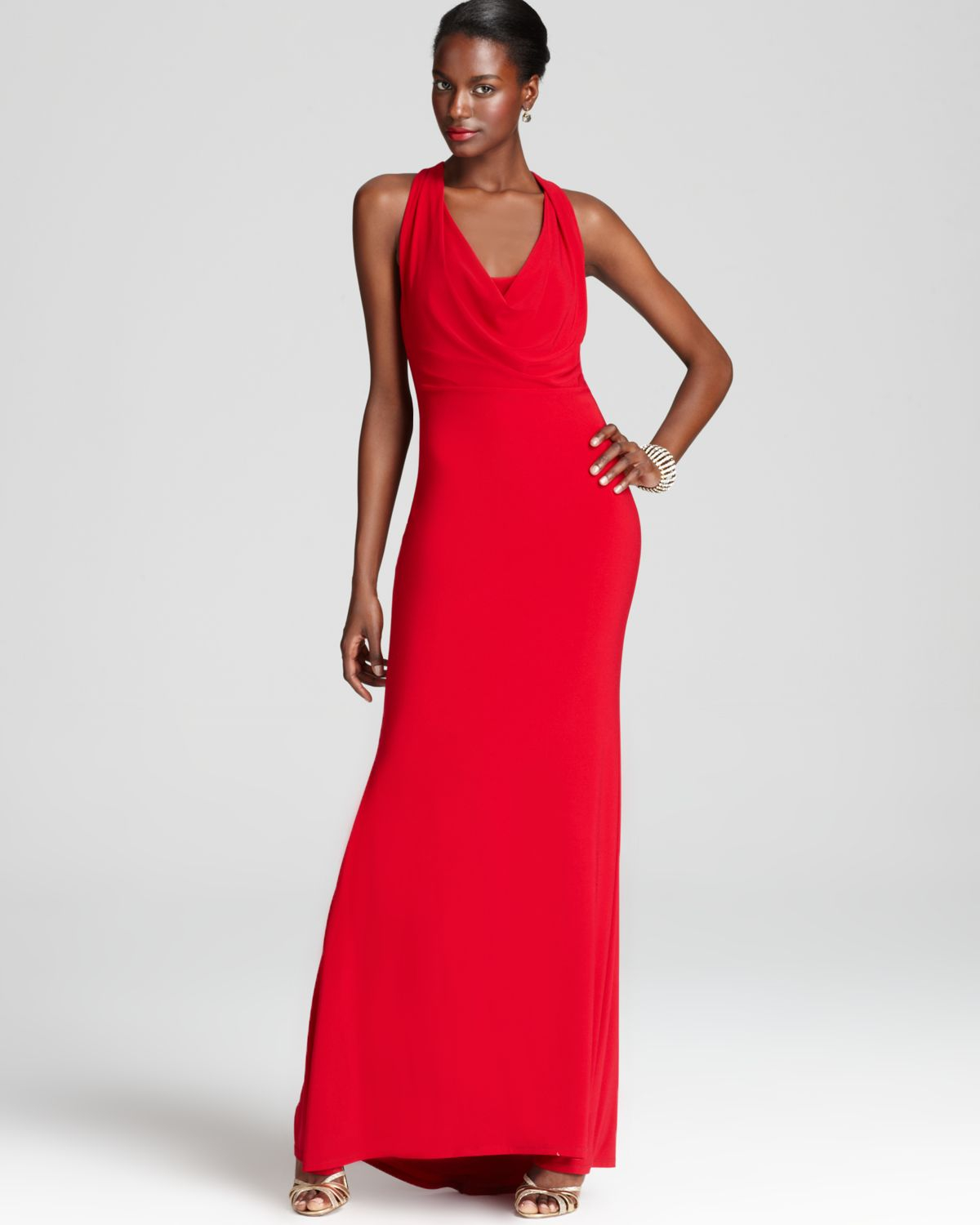 Lyst - Abs By Allen Schwartz Sleeveless Gown Cowl Neck in Red